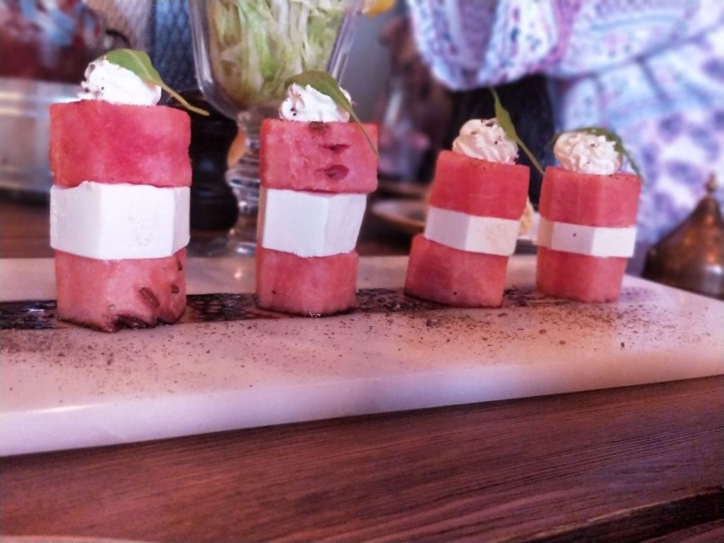 watermelon, salad, feta