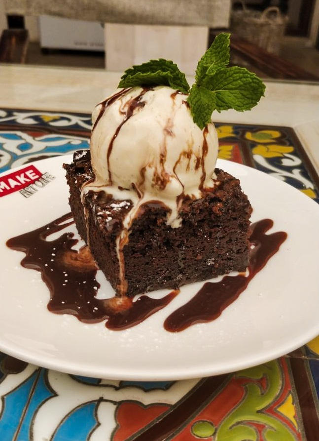 Chocolate brownie with Vanilla, chocolate, brownie, vanilla, icecream