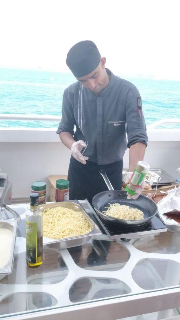 food, live counter, pasta, pasta counter