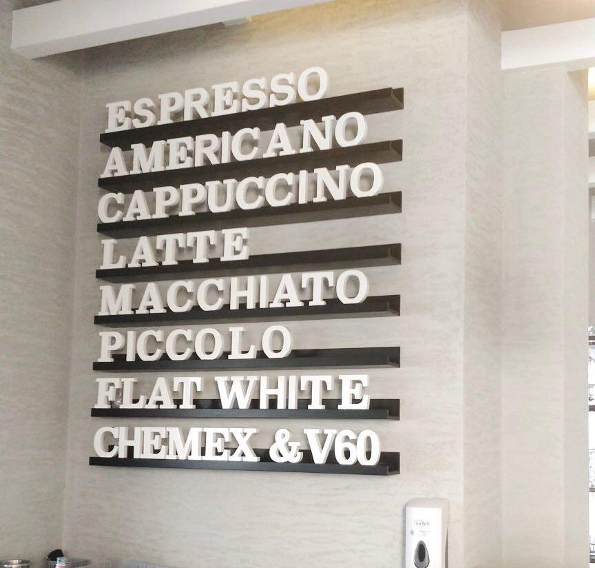 expresso, americano, cappuccino, latte, macchiato, piccolo, flat white