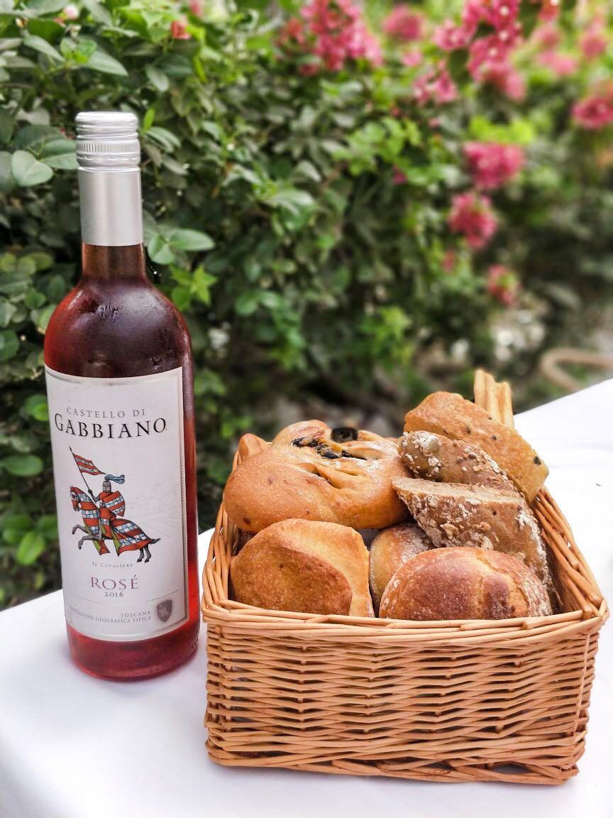 wine, bread, assorted bread