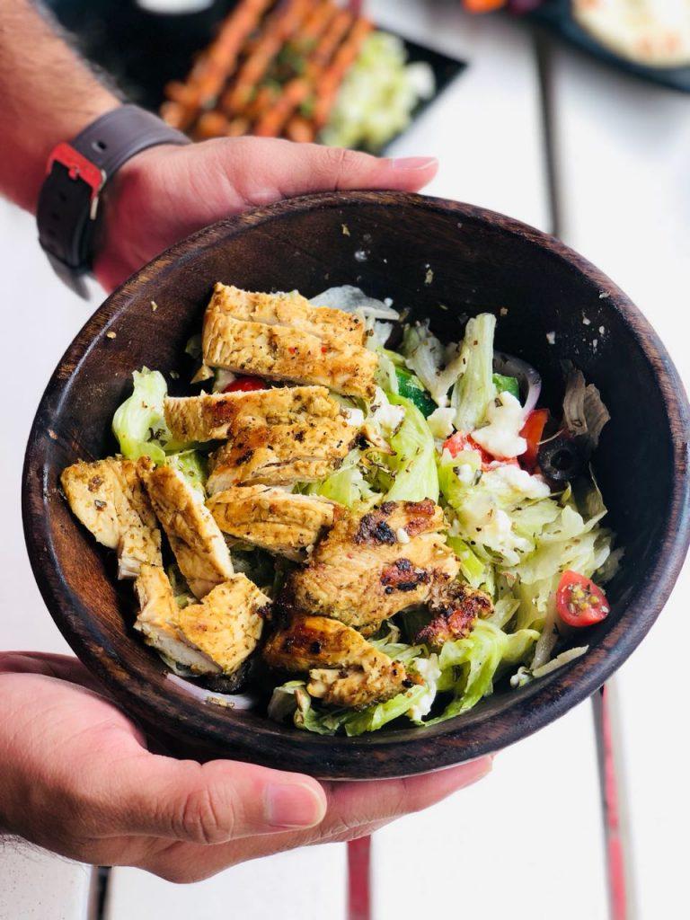 Greek salad, grilled chicken, chicken salad, chicken dish, pune restaurant, arabic restaurant, arabic restaurant in pune
